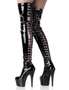 4 1 / 2''дюймов пятки Черный Бедро платформы патентной высокого Sexy Boots