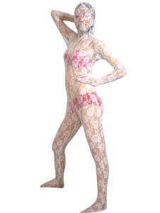 Costume Carnevale White Velvet Lace Trasparente Suit Zentai