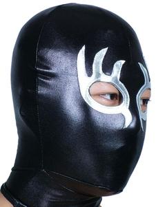 Черный и серебряный Открыть глаз и рта блестящих металлических Худ Хэллоуин