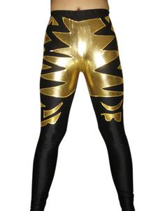 Черное золото шаблон блестящие металлические борьба штаны Хэллоуин