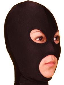 Disfraz Carnaval Capucha de Lycra Spandex de color negro con los ojos y la boca abierta Halloween Carnaval