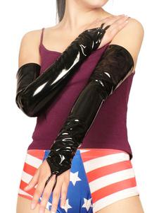 Disfraz Carnaval Negro sexy Guantes anillo de PVC Halloween Carnaval