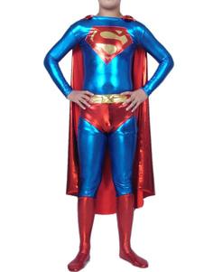 Хэллоуин Супермен Кэтсюитс блестящий металлический Супергерой костюм Хэллоуин