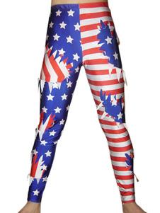 Мульти цвет США штаны Флаг спандекс брюки Хэллоуин