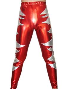 Красный серебристый узор блестящий металлический брюки Хэллоуин