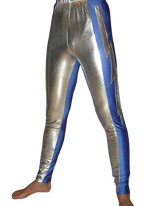 Серебряный синий блестящий металлический штаны брюки борьба Хэллоуин