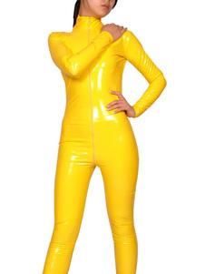 Catsuit Encerramento Amarelo Frente Zipper PVC Halloween