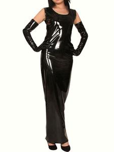 Costume Carnevale Collo rotondo nero senza maniche Shiny Metallic Dress