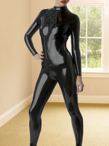 Catsuit Preto látex espartilho mulher gato  Halloween