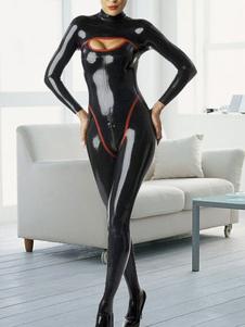 Preto com luvas longo látex Catsuit de mulher-gato Halloween