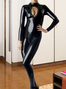 Preto X-Girl Pole Dancing de Catwoman mangas longas de Latex Catsuit Halloween