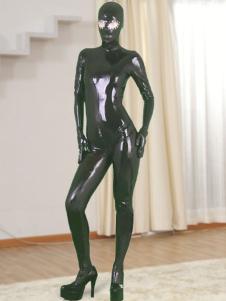 Dark Gray Full Body Catsuit de látex com os olhos abertos e com zíper Open Crotch Halloween