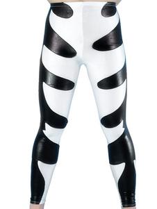 Черно-белый блестящий металлический штаны Хэллоуин