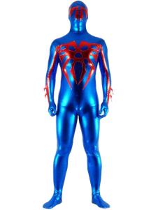 Costume Carnevale Blu e rosso lucido metallizzato Super Hero Zentai Suit