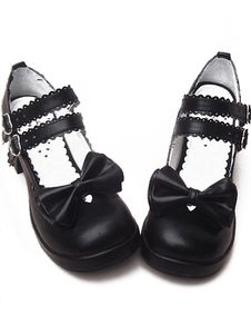 2 Heel''2 / 5''Platform Shoes Black PU Lolita Bow