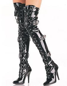Черные бедра высокие сапоги Черные сексуальные ботинки Указанный палец лакированной кожи Пряжка Деталь Высокий каблук над сапогами колена
