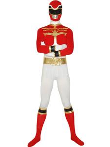 Красный Могучие рейнджеры Зентай Костюм Хэллоуин Лайкра Спандекс Супергерой Костюм Хэллоуин