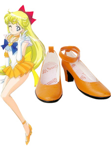 Carnevale Scarpe Cosplay di Sailor Moon Sailor Venus imitato in pelle Aino Minako Carnevale