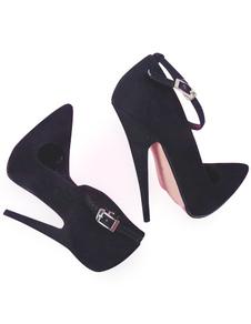 7''Высокий каблук Black Velvet Sexy Насосы