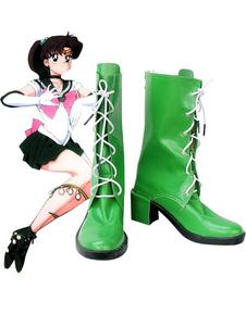 Sapatos de Sailor Moon Sailor Júpiter Kino Makoto imitado couro Cosplay Halloween