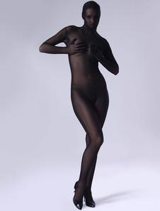 Disfraz Carnaval Zentai De Halloween Tiffany Negro Catsuit De Cuerpo Entero Carnaval