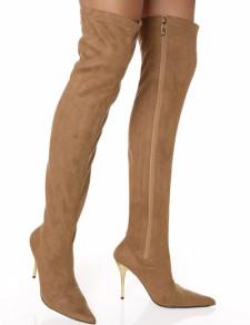 Stivali sopra al ginocchio marrone con cerniera sexy