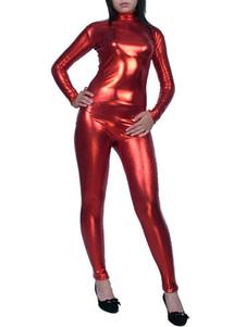 Красный Унисекс блестящий металлический кэтсюит сексуальная Женщина-кошка Костюм Косплей Хэллоуин