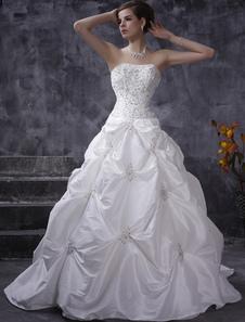 Vestido de noiva Branco Vestido de baile Sem alças Taffeta Ruched Para Casamento Beading Cauda de Igreja