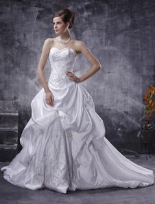 Белые свадебные платья без бретелек бальное платье атласное свадебное платье Ruched вышитые бисером выпадало талии свадебное платье