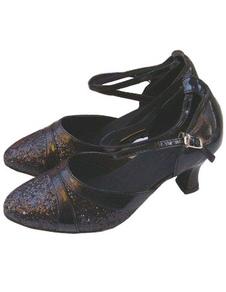 PU elegante preto de couro 2 3/5 cm Alto calcanhar Womens Latina sapatos