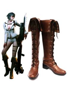 Devil May Cry 4 леди кофе Faux кожи 2'' Высокий Пяточные обувь Cosplay кружева деятельность Хэллоуин