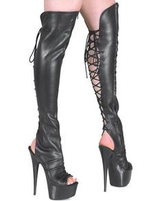 Stivali sexy neri aperti con tacchi alti e piattaforma in PU
