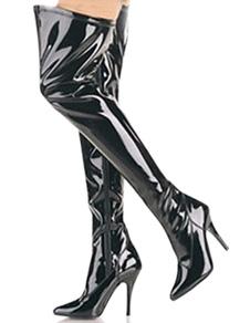 """أسود 4 1/10 """"عالية الكعب براءات الاختراع والجلود فوق الركبة إمرأة مثير الأحذية"""