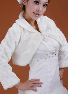 Chal blanco de piel sintética con manga larga