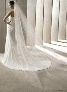 أبيض واحد-- الطبقة تول الحجاب الزفاف (300 * 200cm)