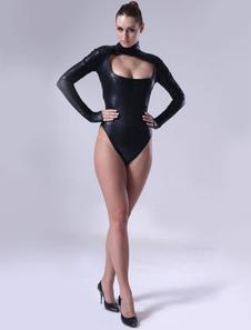 Секси Черный блестящий металлический кэтсюит для женщин Хэллоуин
