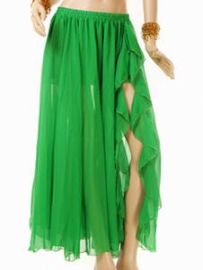 Disfraz Carnaval Falda de danza de vientre de chifón verde Carnaval