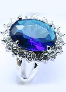リング 女性向け ラインストーン ブルー ロイヤル スターリングシルバー(純銀) 指輪