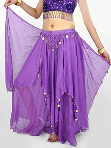Costume Carnevale Chiffon viola al 100% Beads Belly Dance Dress