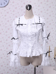 Хлопок белую блузку Лолита Кружева