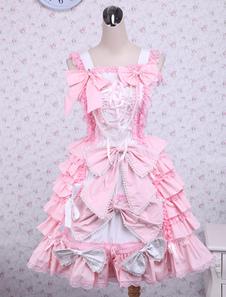 Vestido de algodão-de-rosa doce Loltia Jumper arcos camadas babados