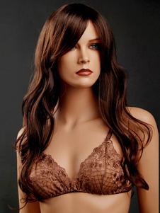 Peruca sintética encaracolada Brown popular para as mulheres