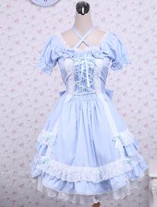 Хлопок голубой короткими рукавами лук кружева хлопка классический Лолита платье