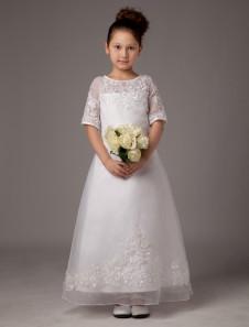 A- خط الأبيض جوهرة الرقبة زين الكاحل طول فستان بالتواصل الأولى