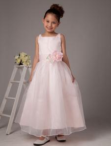 Vestido de damitas rosa de satén y de organza de línea A con escote cuadrado hasta el tobillo