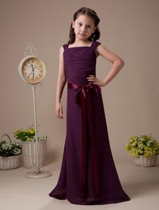 Vestido de damitas de color morado de gasa y de satén de línea A con tirantes spaghetti hasta el suelo