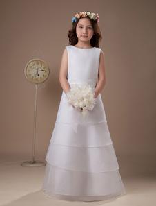 White A-line Multi-Layer Satin First Communion Dress