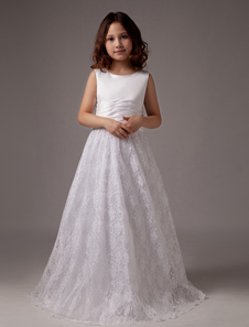 White Bow A-Line Lace Satin Flower Girl Dress