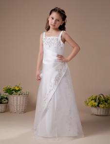 أبيض بلا أكمام التطريز الساتان زهرة فتاة اللباس