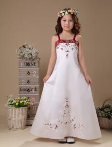 Vestidos de niña de flores blancas de encaje bordado correas de espagueti satén piso de longitud vestido de primera comunión